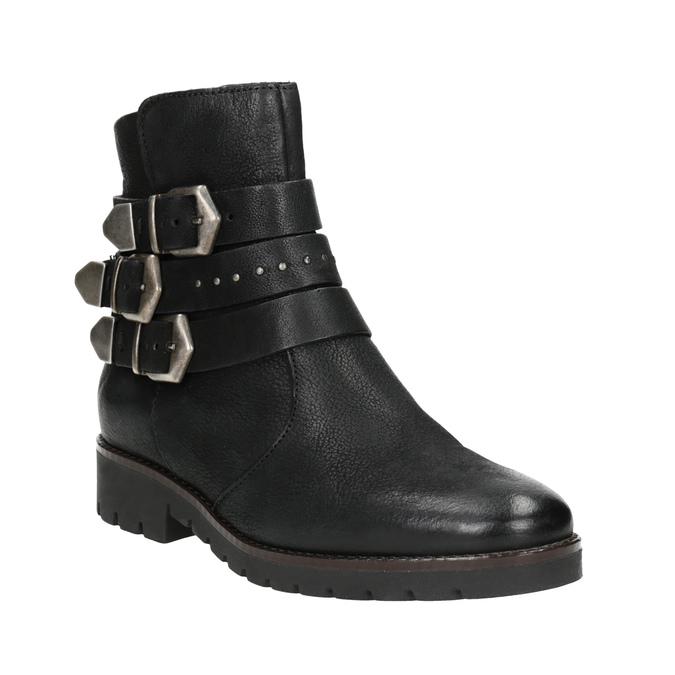 Buty ze skóry za kostkę z klamrami bata, czarny, 596-6660 - 13