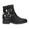 Buty ze skóry za kostkę z klamrami bata, czarny, 596-6660 - 26