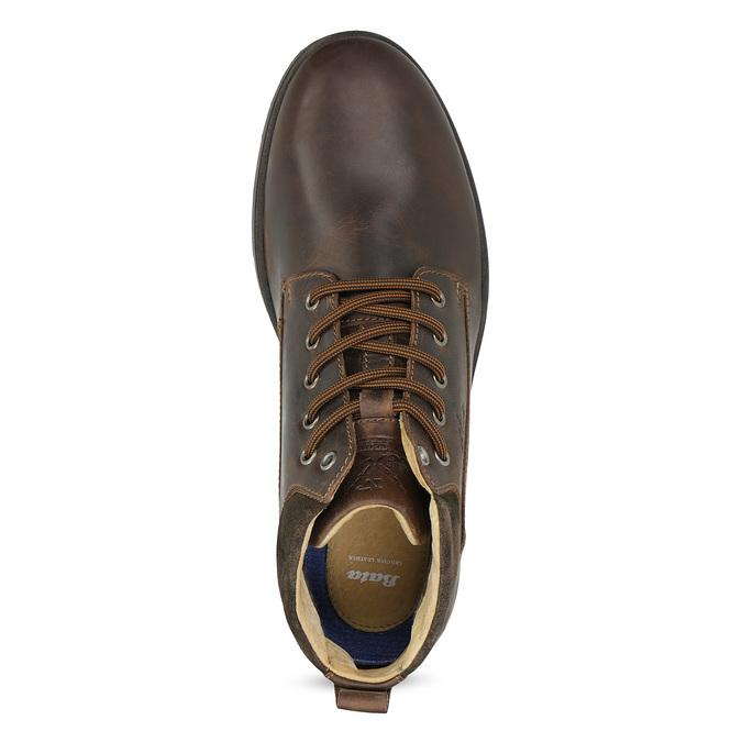 Skórzane obuwie męskie za kostkę, zprzeszyciami bata, brązowy, 846-4645 - 17