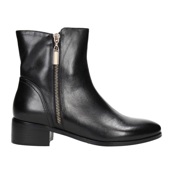 Skórzane botki ze złotymi zamkami błyskawicznymi bata, czarny, 594-6654 - 15