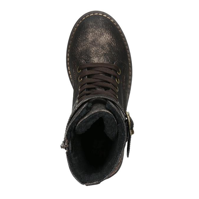 Zimowe buty dziecięce zhaftem mini-b, brązowy, 391-8654 - 26