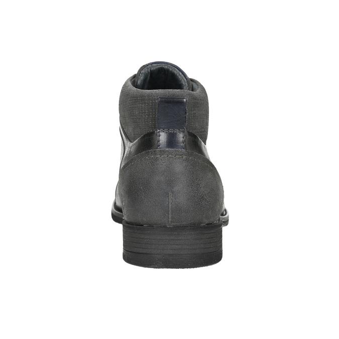 Skórzane buty za kostkę, zfakturą bata, szary, 826-2616 - 17