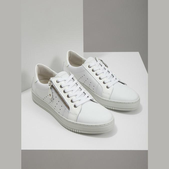 Skórzane trampki damskie zzamkami błyskawicznymi bata, biały, 526-2630 - 18
