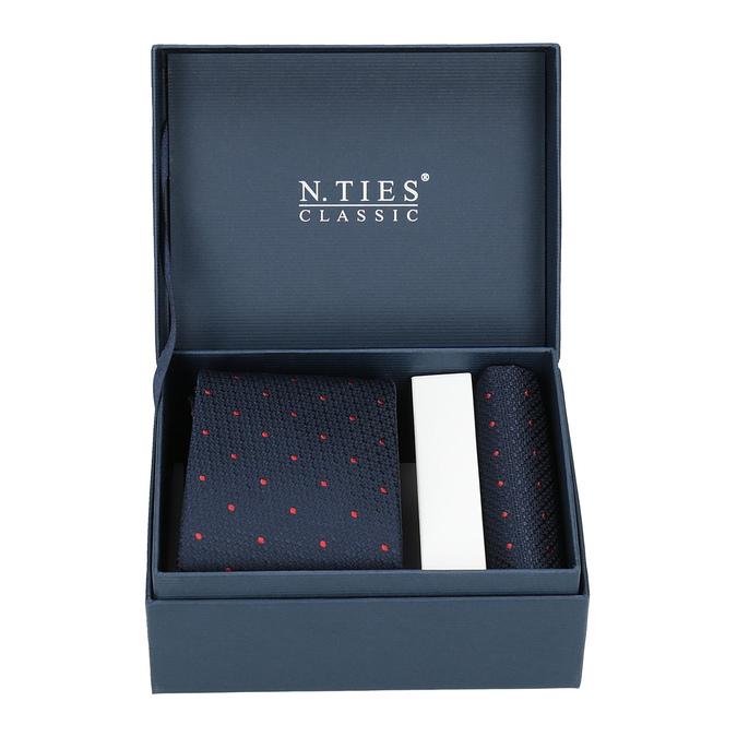 Komplet krawatu iposzetki wdeseń bata, niebieski, 999-9296 - 13