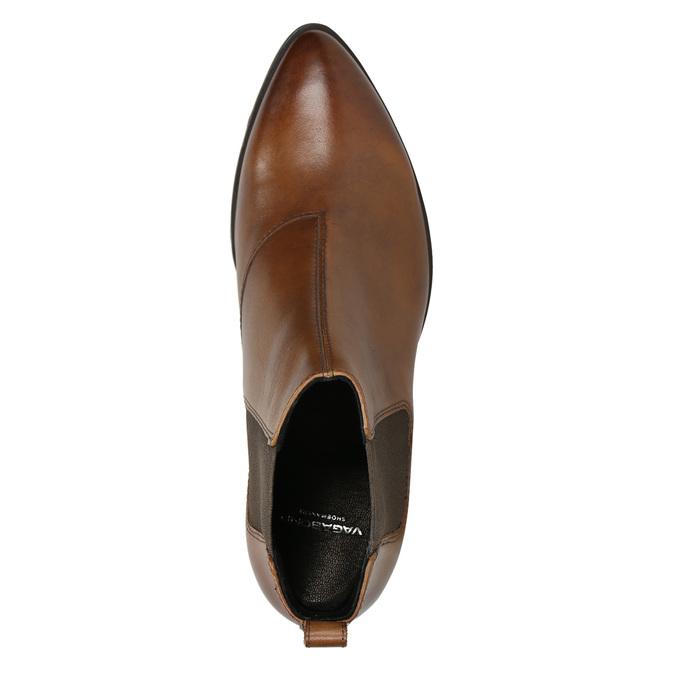 Skórzane buty damskie typu chelsea na obcasach vagabond, brązowy, 614-4020 - 26