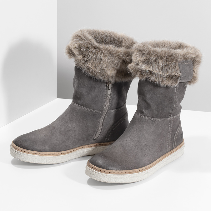 Skórzane buty z futerkiem weinbrenner, szary, 596-2633 - 16
