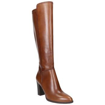 Skórzane kozaki zprzeszyciami bata, brązowy, 794-4356 - 13