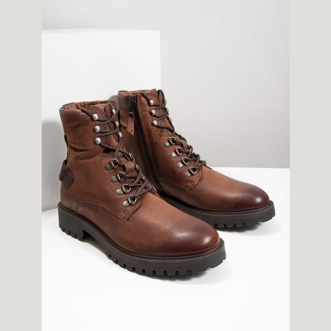Skórzane obuwie za kostkę bata, brązowy, 896-3663 - 18