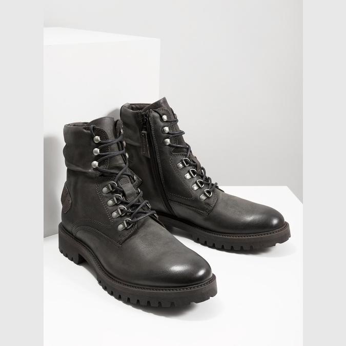 Skórzane obuwie za kostkę bata, szary, 896-2663 - 18