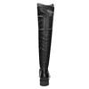 Skórzane kozaki damskie za kolana bata, czarny, 596-6682 - 16
