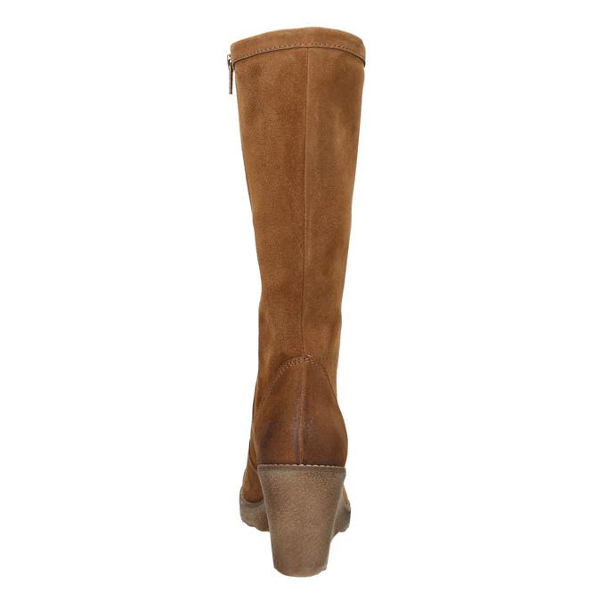 Brązowe kozaki ze skóry bata, brązowy, 793-4607 - 17