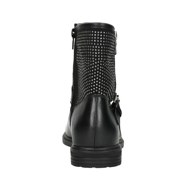 Kozaki dziewczęce zkryształkami mini-b, czarny, 391-6396 - 16