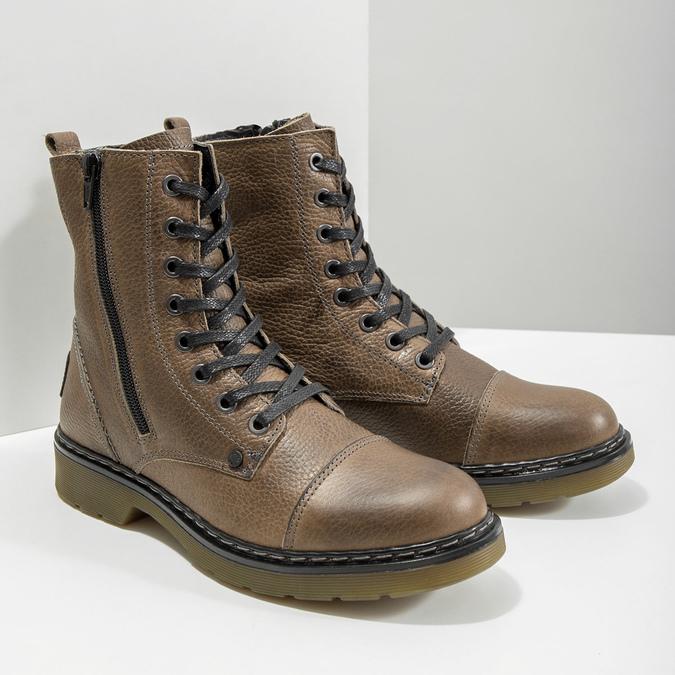 Skórzane botki damskie bata, brązowy, 596-7681 - 18