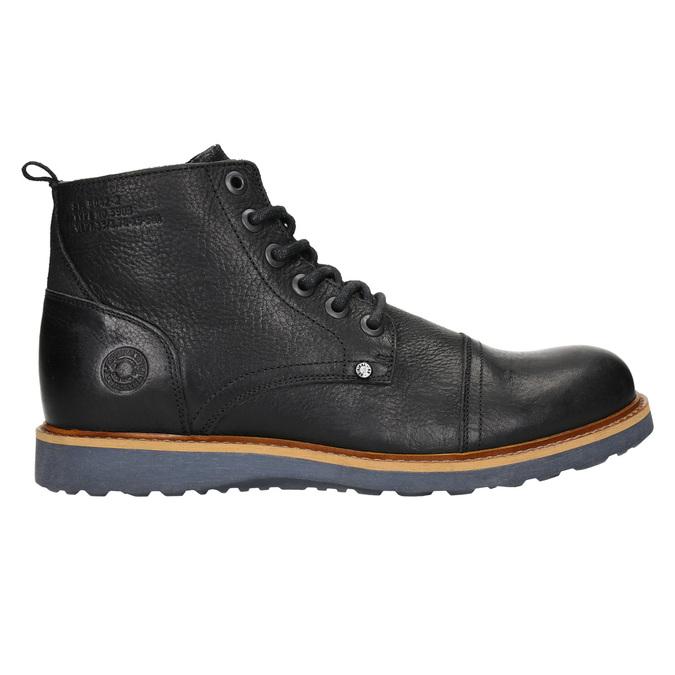 Skórzane buty męskie za kostkę bata, czarny, 896-6667 - 15