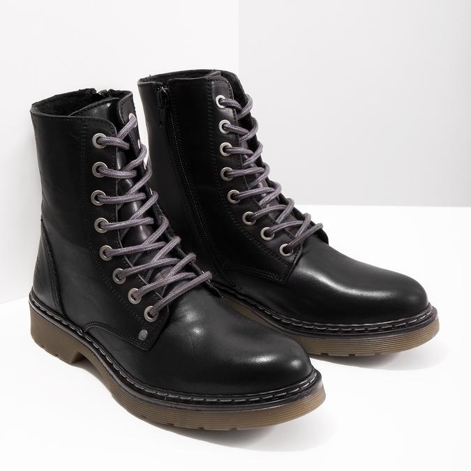 Skórzane botki damskie bata, czarny, 594-6681 - 18