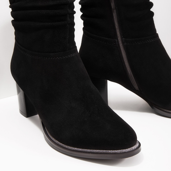 Skórzane botki bata, czarny, 693-6602 - 14