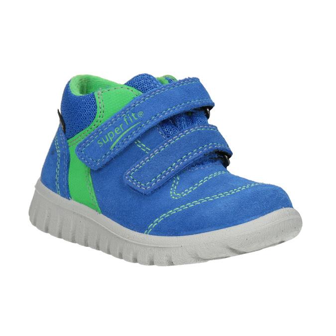 Skórzane obuwie dziecięce na rzepy, niebieski, 113-9036 - 13