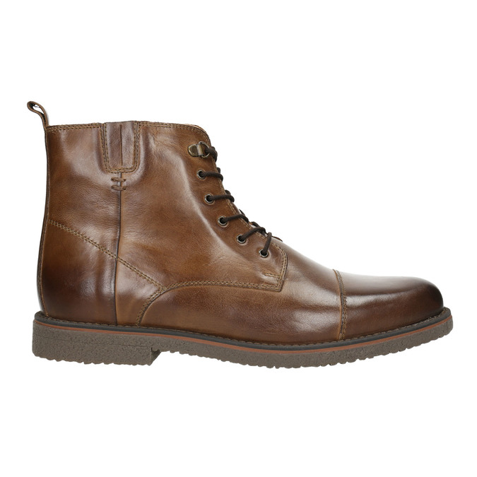 Skórzane ocieplane buty za kostkę bata, brązowy, 896-4662 - 15
