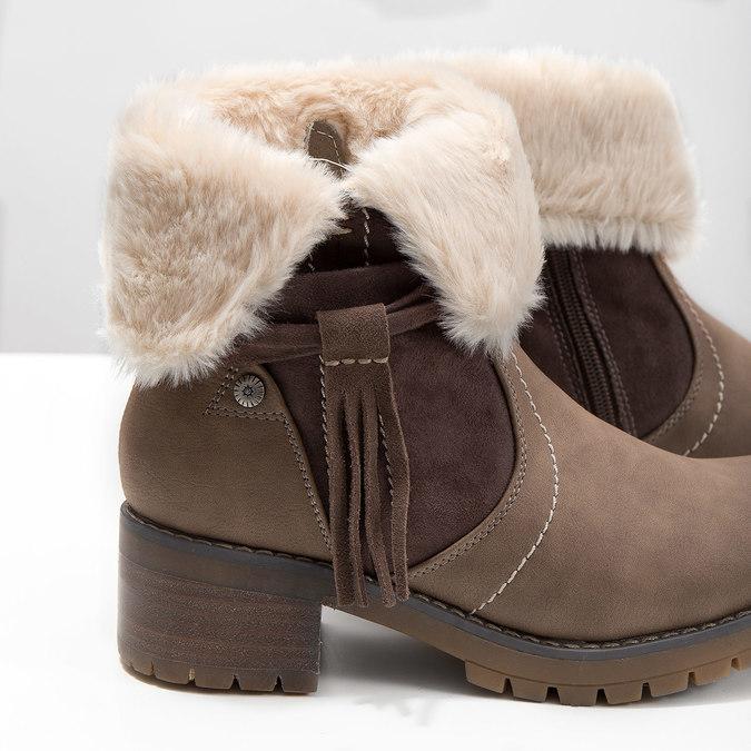 Buty za kostkę z kożuszkiem bata, brązowy, 691-2633 - 14