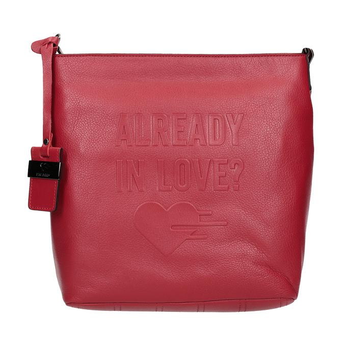 Czerwona skórzana torebka typu crossbody picard, czerwony, 964-5094 - 26