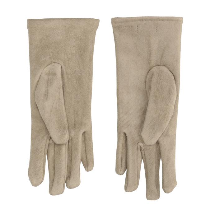 Rękawiczki damskie zmateriału tekstylnego, zguzikami bata, beżowy, 909-8612 - 16