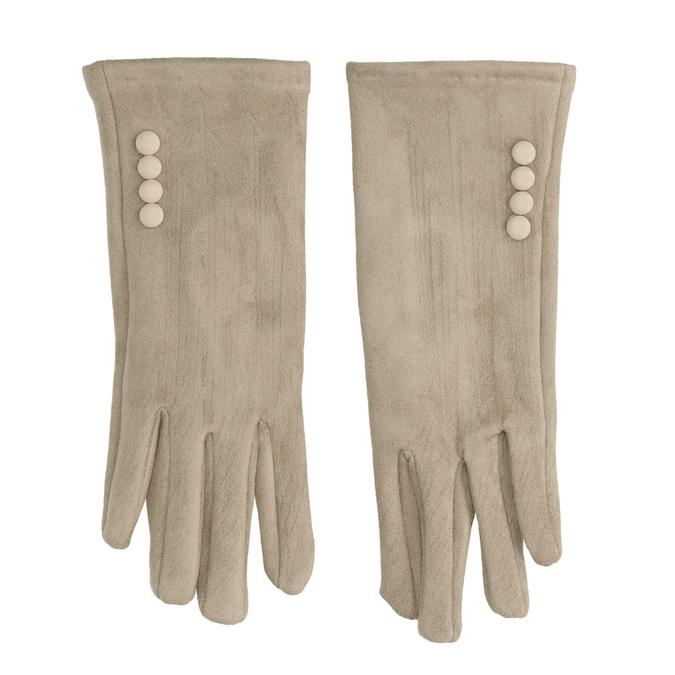 Rękawiczki damskie zmateriału tekstylnego, zguzikami bata, beżowy, 909-8612 - 26