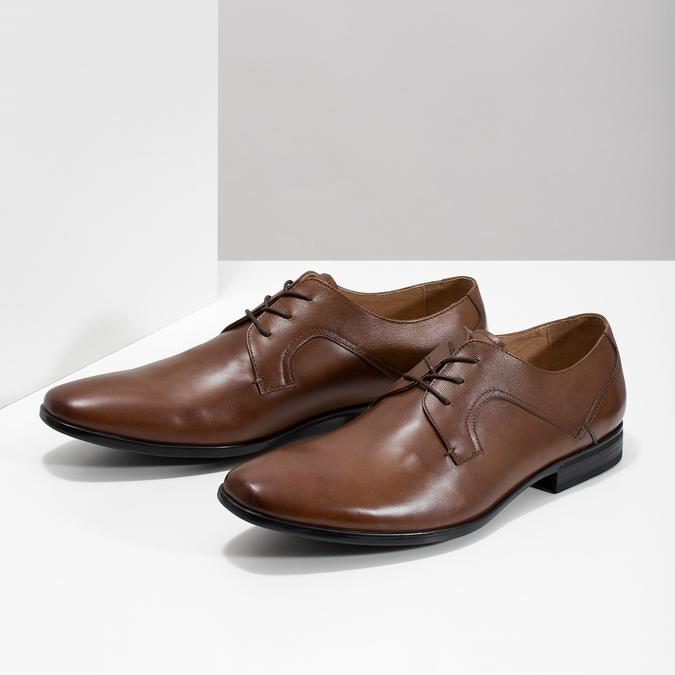 Brązowe skórzane półbuty męskie bata, brązowy, 826-3758 - 16