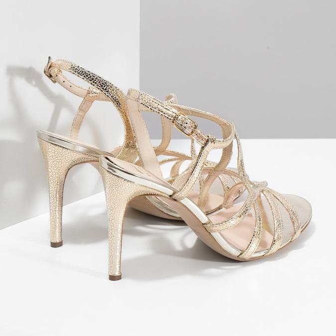 Wyjściowe złote sandały ze skóry bata, 726-8648 - 16
