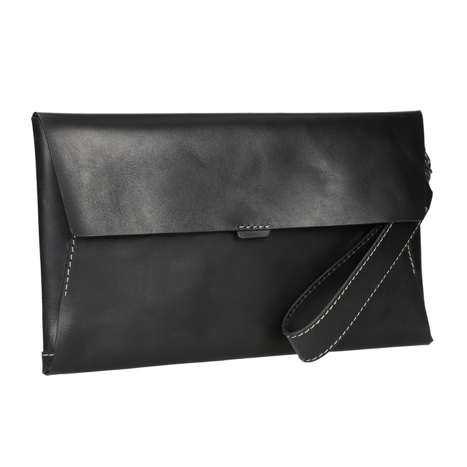 Czarna skórzana kopertówka bata, czarny, 966-6285 - 13
