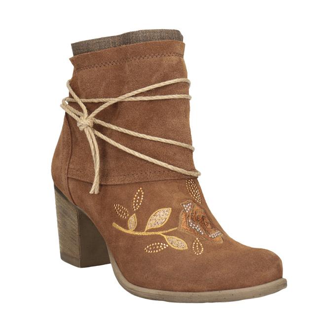 Skórzane botki zhaftem bata, brązowy, 696-4655 - 13