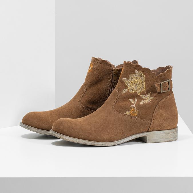 Skórzane botki zhaftem bata, brązowy, 596-4686 - 16