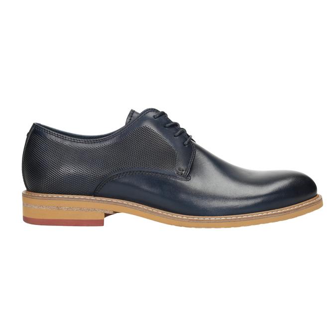 Granatowe nieformalne półbuty ze skóry bata, niebieski, 826-9853 - 26