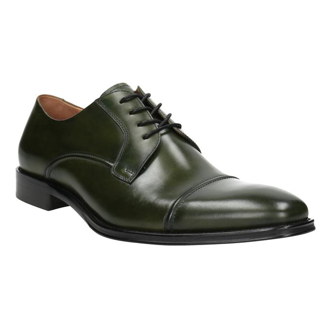 Zielone półbuty męskie ze skóry bata, zielony, 826-7857 - 13