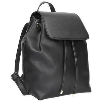 Czarny plecak ze sznurkiem bata, czarny, 961-6858 - 13