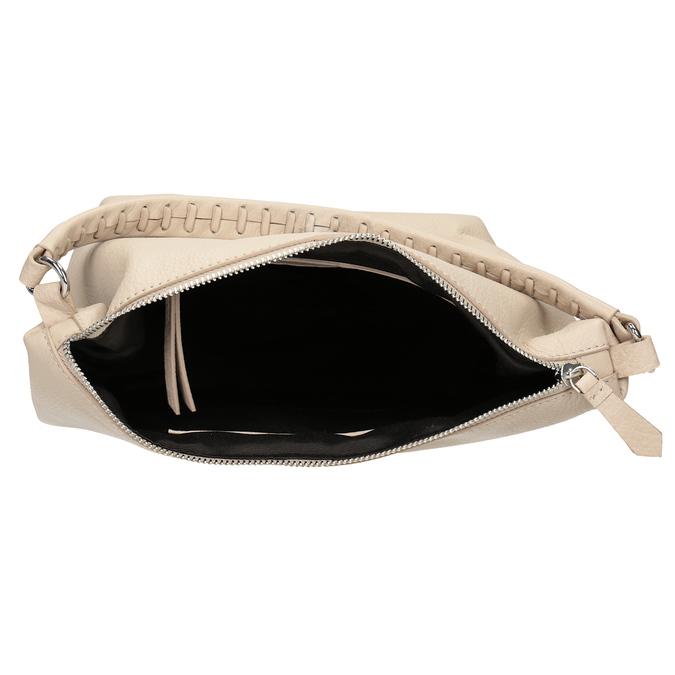 Kremowa skórzana torba wstylu hobo bata, beżowy, 964-8290 - 15