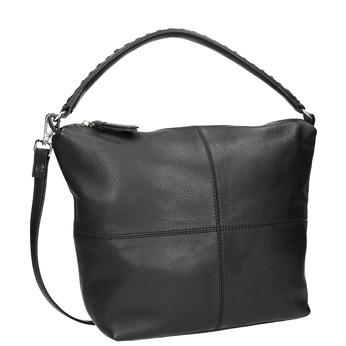 Skórzana torba typu hobo zprzeszyciami bata, czarny, 964-6290 - 13