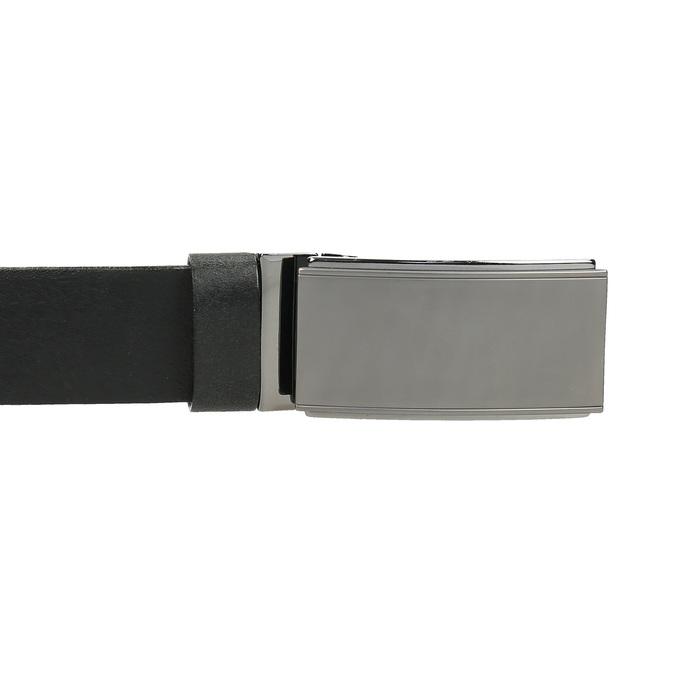 Skórzany pasek męski zgładką klamrą bata, czarny, 954-6207 - 26