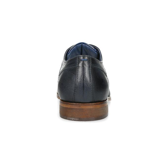 Granatowe skórzane półbuty zfakturą bata, niebieski, 826-9825 - 15
