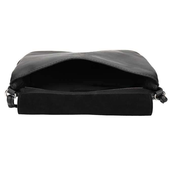 Skórzana torebka damska typu crossbody bata, czarny, 964-6291 - 15