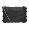 Skórzana torebka zpikowaniem bata, czarny, 963-6193 - 16
