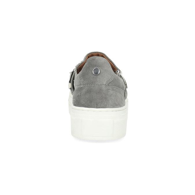 Slip-on damskie zmetalową klamrą bata, szary, 513-2600 - 15