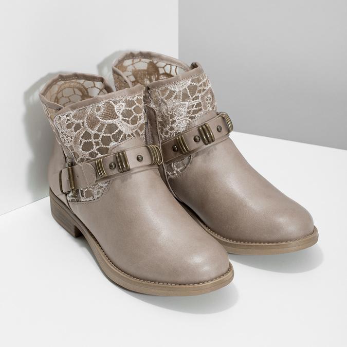 Kozaki damskie zkoronką bata, szary, 591-2628 - 26