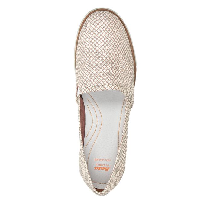 Skórzane obuwie damskie typu slip-on na kontrastowej podeszwie flexible, 536-5603 - 17