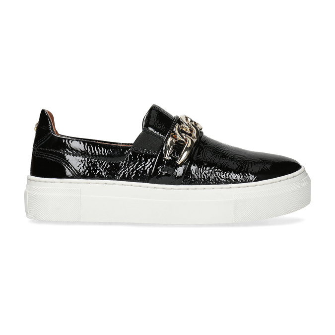 Skórzane obuwie typu slip-on na platformie bata, czarny, 518-6601 - 19