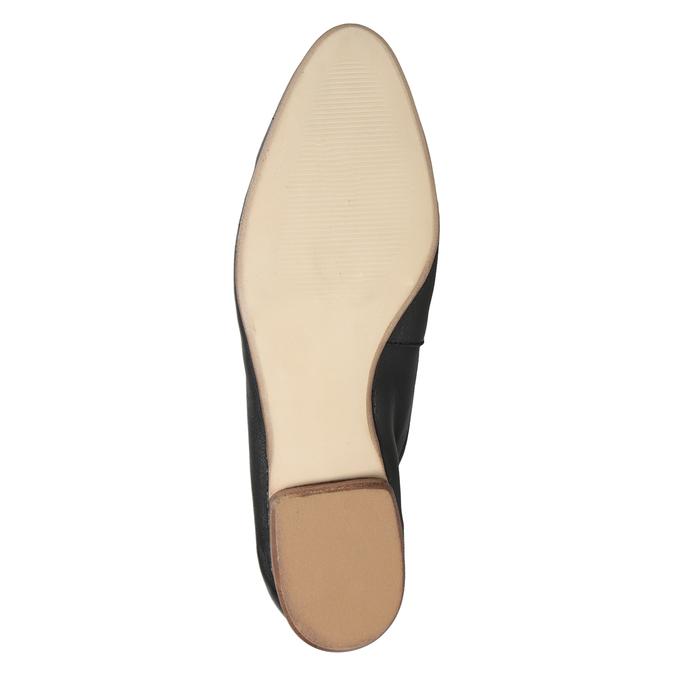 Skórzane mokasyny damskie zwędzidłami bata, czarny, 516-6619 - 19