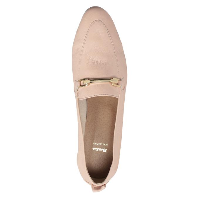 Różowe skórzane mokasyny damskie bata, 516-5619 - 17