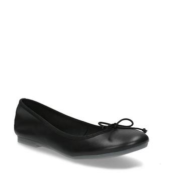 Czarne skórzane baleriny zkokardkami bata, czarny, 524-6144 - 13