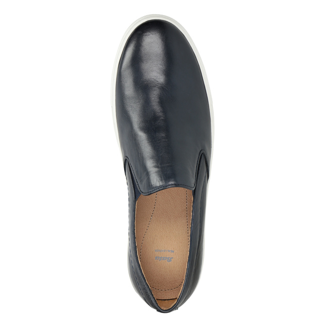 Skórzane slip-on męskie bata, niebieski, 836-9601 - 15