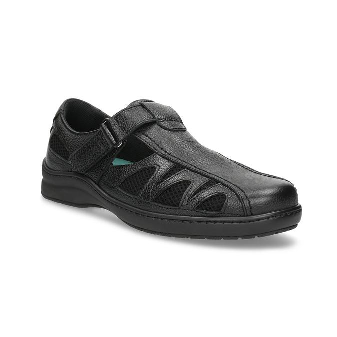 Skórzane sandały męskie weleganckim stylu pinosos, czarny, 864-6625 - 13