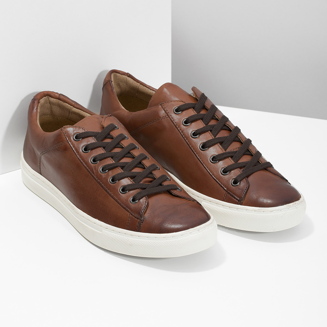 Skórzane trampki męskie bata, brązowy, 846-4648 - 26